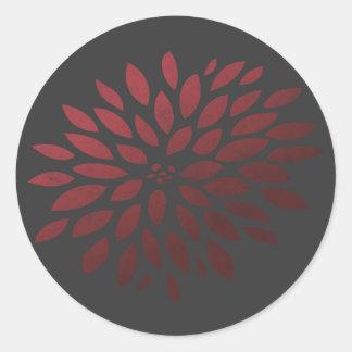 Red Chrysanthemum Classic Round Sticker