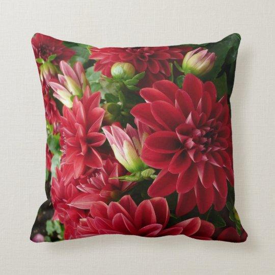 Red Chrysanthemum pilliow with green back Throw Pillow