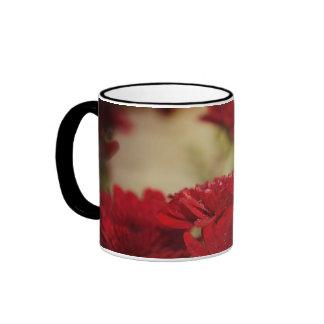 Red Chrysanthemums Ringer Coffee Mug