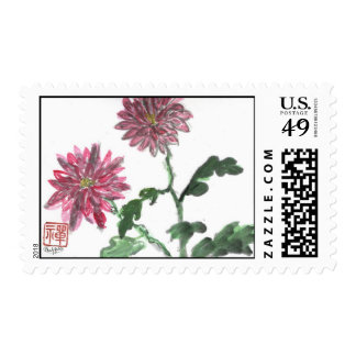 Red Chrysanthemums, Sumi-e in color Postage