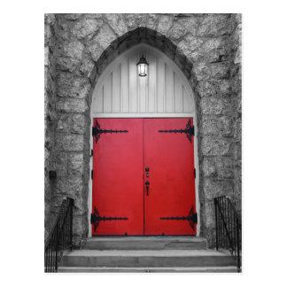 Red Church Door Postcard