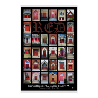 """""""RED Church Doors of Lancaster County, PA"""" Poster"""