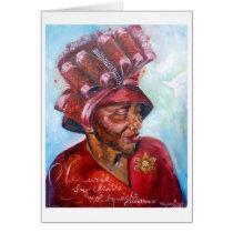 Red Church Hat Card