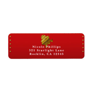 Red Cinema & Gold Stars Hollywood Party Invitation Label