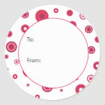 Red Circle Dots Gift Tag Round Sticker