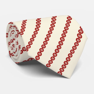 Red Circle Double Happiness Chinese Wedding Tie