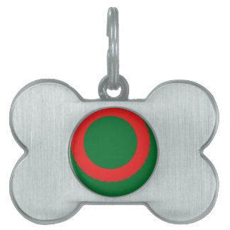 red circle green background pet name tag