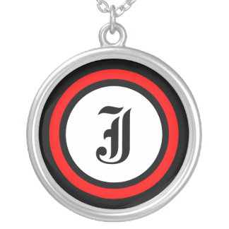 Red Circle Initial Round Pendant Necklace