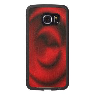 Red circle pattern wood phone case