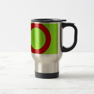 red circle with green background coffee mugs