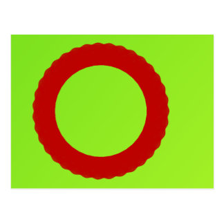 red circle with green background postcard