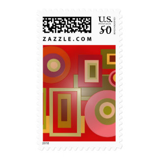 red circles and squares postage