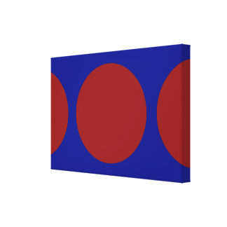 Red Circles on Blue Gallery Wrapped Canvas