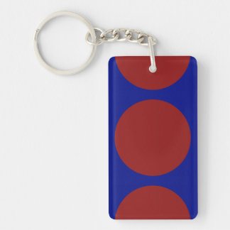 Red Circles on Blue Double-Sided Rectangular Acrylic Keychain
