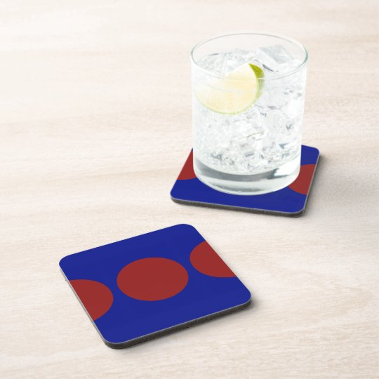 Red Circles on Blue Drink Coaster