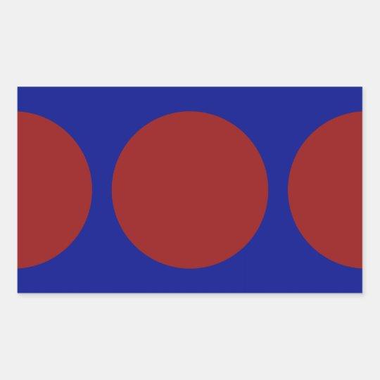 Red Circles on Blue Rectangular Sticker