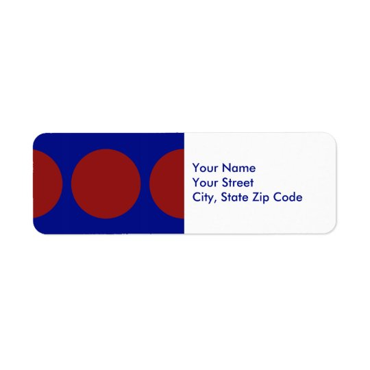 Red Circles on Blue return address label