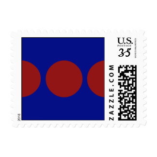 Red Circles on Blue – Small Postage