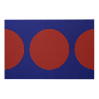 Red Circles on Blue Wood Wall Art