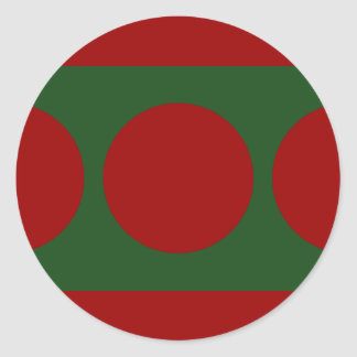 Red Circles on Green Classic Round Sticker