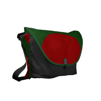 Red Circles on Green Courier Bag