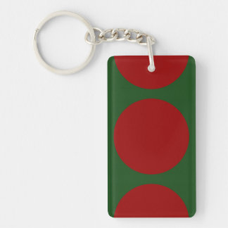 Red Circles on Green Double-Sided Rectangular Acrylic Keychain