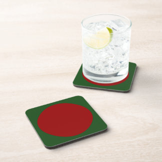 Red Circles on Green Drink Coaster