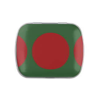 Red Circles on Green Jelly Belly Candy Tins