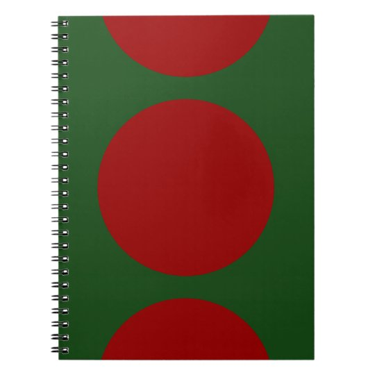 Red Circles on Green Notebook