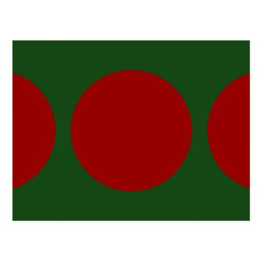 Red Circles on Green Postcard