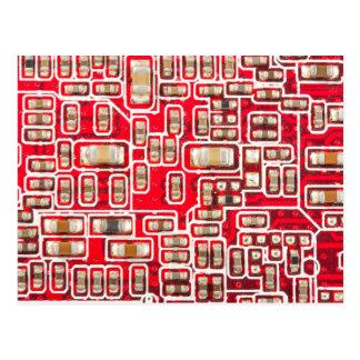 Red Circuit Board Pattern Postcard