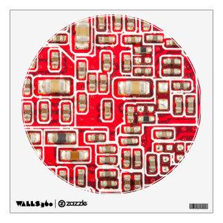 Red Circuit Board Pattern Wall Sticker