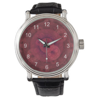 Red Circular Fractal Watch, Black Vintage Strap Wrist Watches