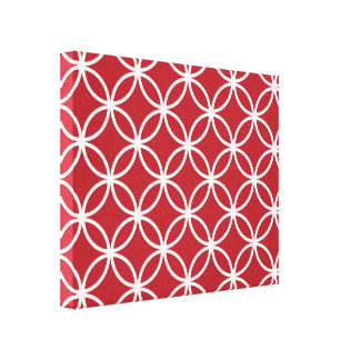 Red Circular Pattern Canvas Print