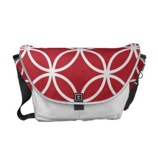 Red Circular Pattern Messenger Bag