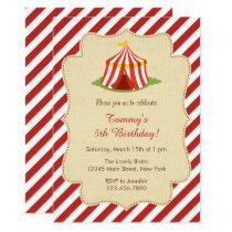 Red Circus Birthday Invitation