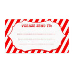 Red Circus Stripe Shipping Labels