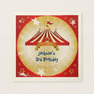 Red Circus Tent, Custom, Birthday Paper Napkin