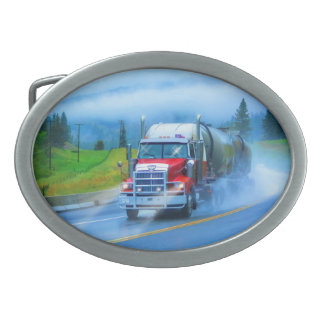 Red Cistern Lorry & Highway Art for Truck-lovers Belt Buckle