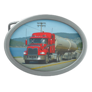 Red Cistern Truck & Highway Art for Lorry-lovers Belt Buckle