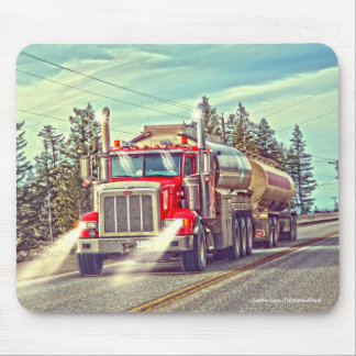 Red Cistern Truck Highway Driving Art Mousepad