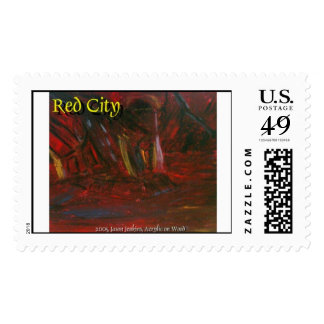 red city  postage stamp