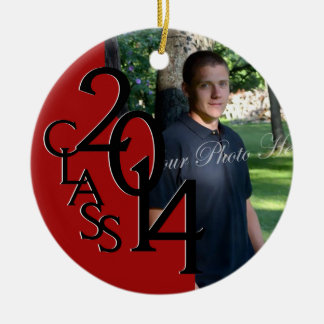Red Class 2014 Graduation Photo Double-Sided Ceramic Round Christmas Ornament