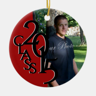 Red Class 2015 Graduation Photo Double-Sided Ceramic Round Christmas Ornament