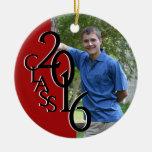 Red Class 2016 Graduation Photo Ceramic Ornament