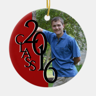 Red Class 2016 Graduation Photo Double-Sided Ceramic Round Christmas Ornament