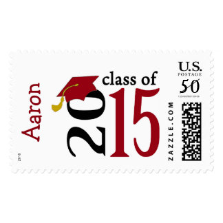 Red Class Of 2015 Graduation Stamps