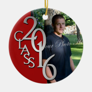 Red Class of 2016 Graduate Photo Double-Sided Ceramic Round Christmas Ornament