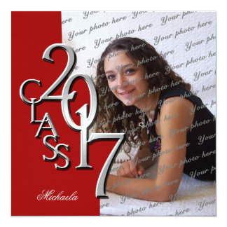 Red Class of 2017 Photo Graduation Card
