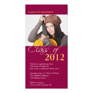 Red class of graduation photo announcement card